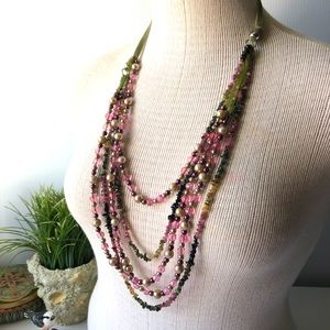 Jewelry - Long bib necklace pink and green hues